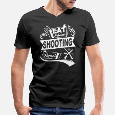 Shoot Eat Sleep Repeat Eat Sleep Shooting Repeat Shirt - Men's V-Neck T-Shirt by Canvas