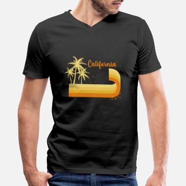 Hollywood California summer surfing beach wave USA colorful - Men's V-Neck T-Shirt