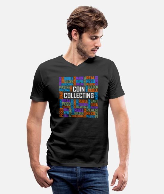 Coin Collecting T-Shirts - Coin Collecting Words - Men's V-Neck T-Shirt black