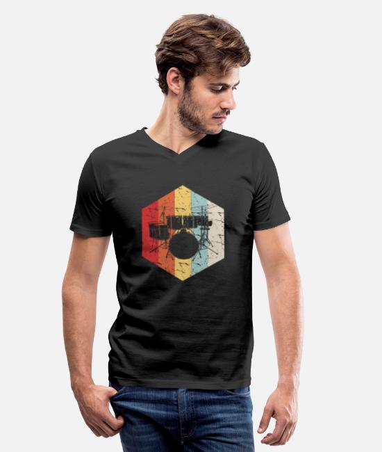 Drummer T-Shirts - Drum Retro Silhouette - Men's V-Neck T-Shirt black