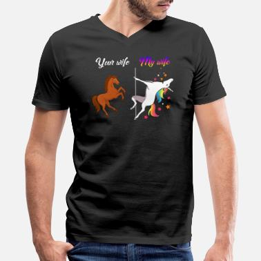 Funny My Wife Your Wife Your wife my wife Unicorn - Men's V-Neck T-Shirt by Canvas