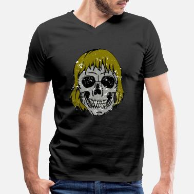 Blonde Hair Skull - with Long Hair -Blond - Men's V-Neck T-Shirt