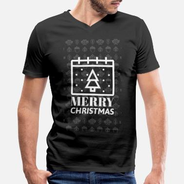 Christmas Tree Advent Winter Snow Present Gift - Men's V-Neck T-Shirt