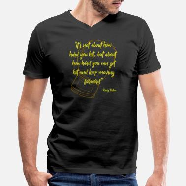 Rocky Quotes Rocky Quote Gold-Green - Men's V-Neck T-Shirt by Canvas