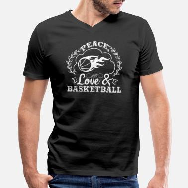 Peace Love And Basketball Peace Love And Basketball Shirt - Men's V-Neck T-Shirt by Canvas