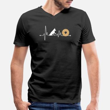 Border Collie Heartbeat Heartbeat EKG Pulse Border Collie Donut Muffin - Men's V-Neck T-Shirt by Canvas