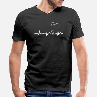 Biathlon Biathlon Biathlete Shooting Heartbeat Ekg Winter - Men's V-Neck T-Shirt