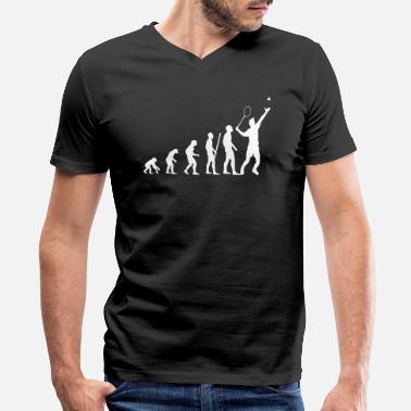 Badminton Players Badminton Evolution Badminton Player - Men's V-Neck T-Shirt by Canvas