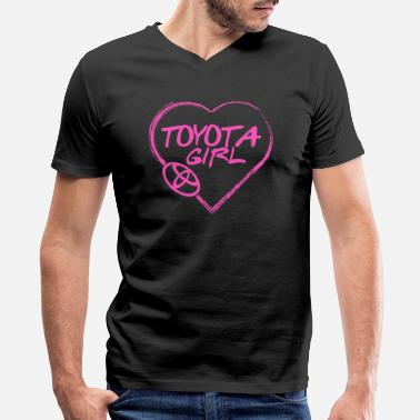 Toyota Mr2 Toyota girl - Pink heart lovely T-shirt - Men's V-Neck T-Shirt