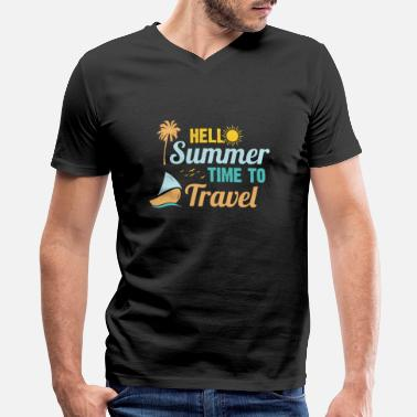 Vacay-times time to travel tropical island vacay - Men's V-Neck T-Shirt by Canvas