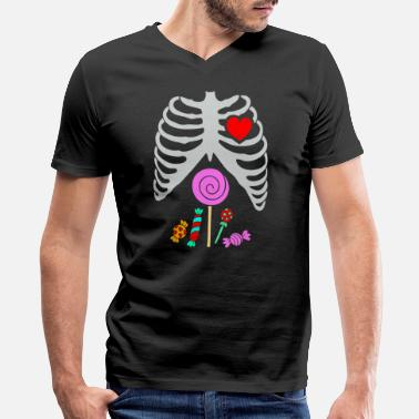Cute Skeleton Cute Skeleton Candy Rib - Men's V-Neck T-Shirt by Canvas
