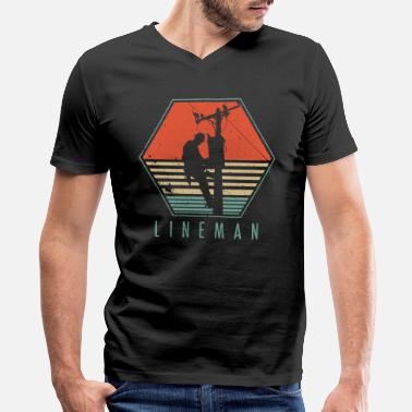Electric Lineman Lineman Vintage Gift - Men's V-Neck T-Shirt by Canvas