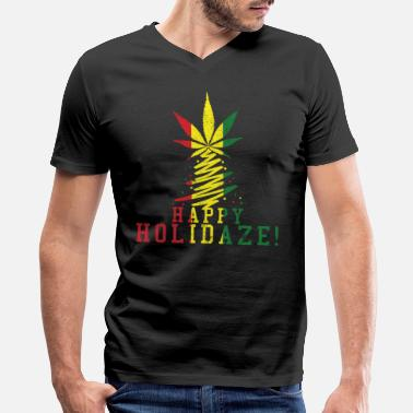 Stoned Happy Holidaze - Cannabis Christmas Weed Stoner - Men's V-Neck T-Shirt by Canvas