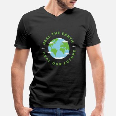 Heal The Earth Heal Our Future Nature Conservation - Men's V-Neck T-Shirt