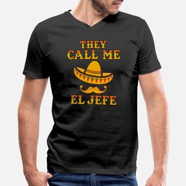 Gaffer They Call Me El Jefe gift Men Women Youth Gift Mexican Boss - Men's V-Neck T-Shirt by Canvas