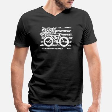 Fat Biking Fat Bike Flag Shirt - Men's V-Neck T-Shirt by Canvas
