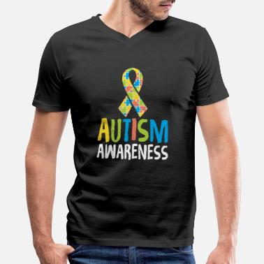National Autism Awareness Month 2019 Cute Autism Awareness Ribbon Autistic Supporter - Men's V-Neck T-Shirt