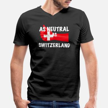 Neutral Swiss As Neutral As Switzerland - Men's V-Neck T-Shirt by Canvas