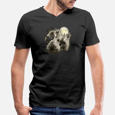 3 Wolf Moon Three Wolf Moon 3 Wolves Howling Wildernesss - Men's V-Neck T-Shirt by Canvas