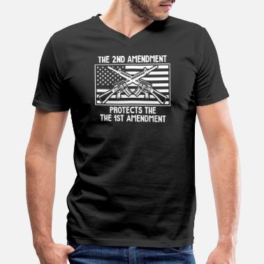 Defend The Second The Second Amendment Protects the First Amendment - Men's V-Neck T-Shirt