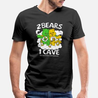 Weed Tent 2 Bears 1 Cave Beer and Weed - Men's V-Neck T-Shirt