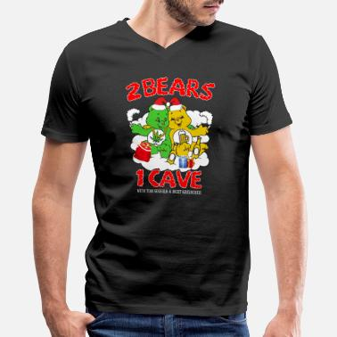 Weed Tent 2 Bears 1 Cave merry christmas - Men's V-Neck T-Shirt