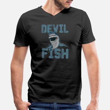 Sea Devil Devil fish Sea monger fishing Fish - Men's V-Neck T-Shirt by Canvas