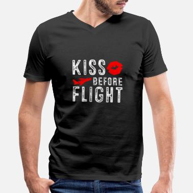 Flight Aviation Kiss before Flight - Aviation Flight Attendant - Men's V-Neck T-Shirt by Canvas