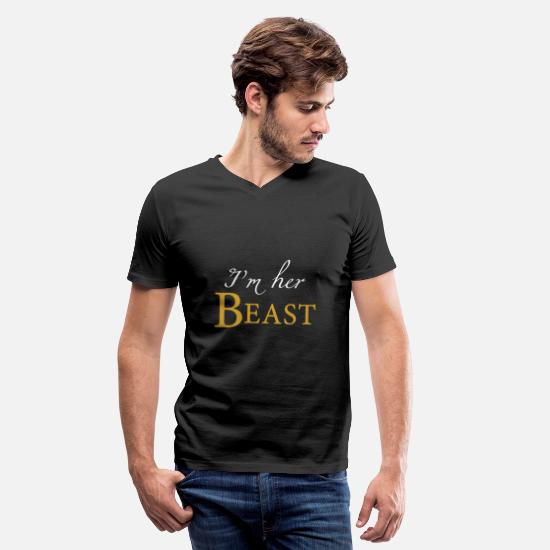 King T-Shirts - Couple - i'm her beast his beauty matching coup - Men's V-Neck T-Shirt black