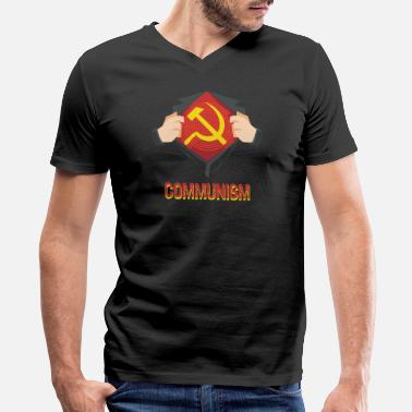 Ussr Communism Communism Superhero Hammer Sickle Red USSR - Gift - Men's V-Neck T-Shirt