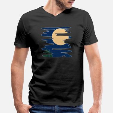 Puddle Moon Puddle - Men's V-Neck T-Shirt by Canvas