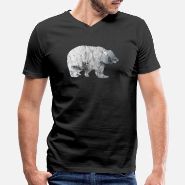 Bear In Mountains Bear Mountain - Men's V-Neck T-Shirt by Canvas