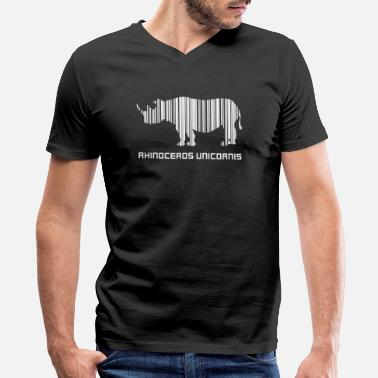 American Barcode Logo - rhinoceros unicornis barcode save rhino d - Men's V-Neck T-Shirt by Canvas