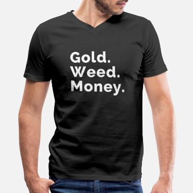 Hemp Geek Gold. Weed. Money. - Men's V-Neck T-Shirt by Canvas