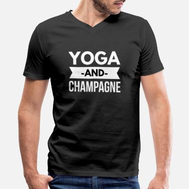 Beverage Champagne Yoga and Champagne - Men's V-Neck T-Shirt by Canvas
