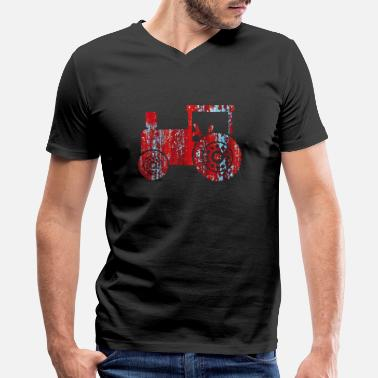 Tractors Vintage red vintage retro tractor - Men's V-Neck T-Shirt by Canvas