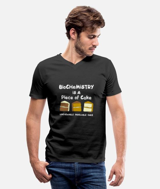 Periodic Table T-Shirts - Biochemistry cake funny science in white - Men's V-Neck T-Shirt black