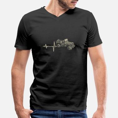 Heartbeat With Jeep shirt gift heartbeat jeep - Men's V-Neck T-Shirt