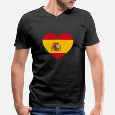 Spanish Flag Spain Yellow Spain Flag Love Heart Patriotic Pride Symbol - Men's V-Neck T-Shirt by Canvas