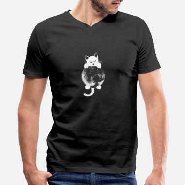 Planet cat hugs planet cat designs by diegoramonart - Men's V-Neck T-Shirt