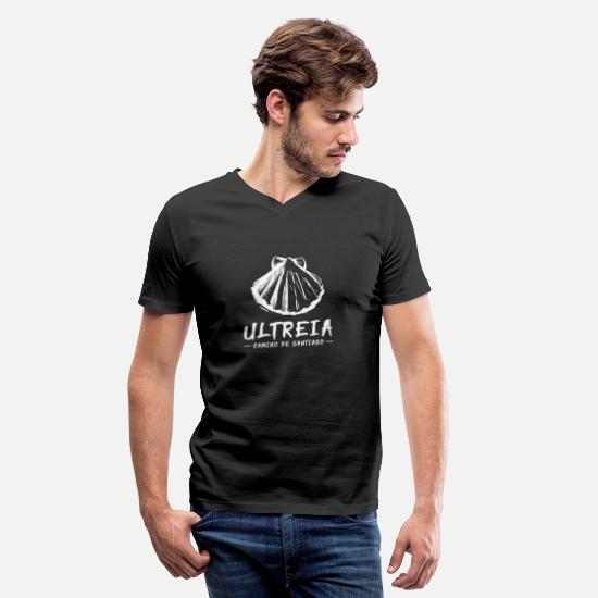 Gift Idea T-Shirts - ULTREIA Camino de Santiago pilgrim shirt - Men's V-Neck T-Shirt black
