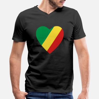 Congolese Girlfriend Congo-Brazzaville Flag Heart - Men's V-Neck T-Shirt