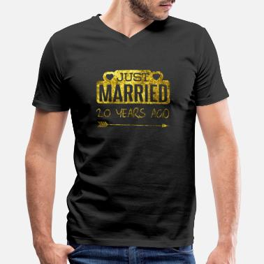 Production Year Funny Anniversary product 20 Years Ago Married - Men's V-Neck T-Shirt
