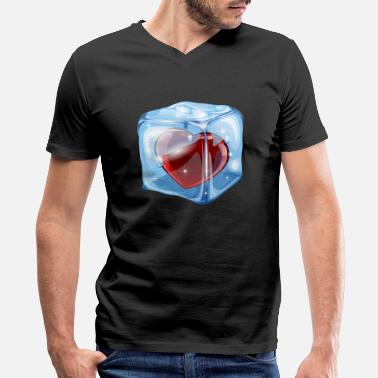 Ice heart in ice - Men's V-Neck T-Shirt