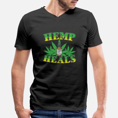 Hemp Hemp Heals CBD Oil Vintage Design Marijuana - Men's V-Neck T-Shirt