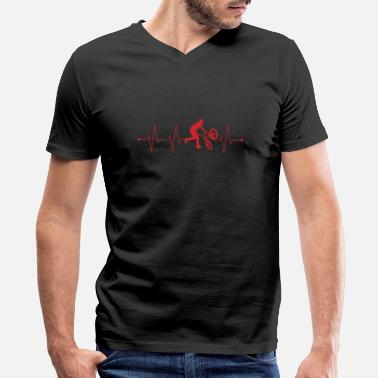 Reds Bmx BMX Bicycle Heartbeat Love Red ECG - Men's V-Neck T-Shirt by Canvas