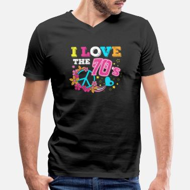 Hippie I love the 70s/1970s/1970/Retro/Peace/Flowers/Love - Men's V-Neck T-Shirt