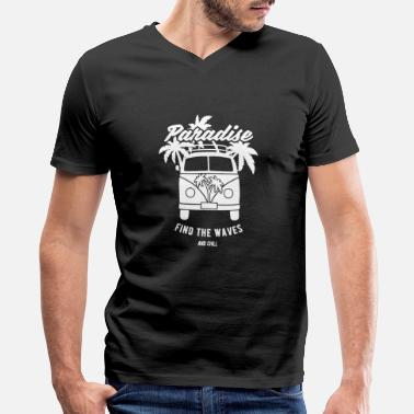 Surfer Bus - Men's V-Neck T-Shirt by Canvas