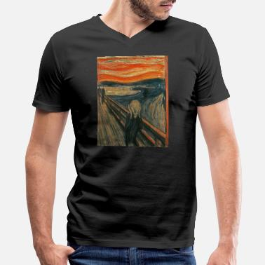 Munch The Scream (Textured) by Edvard Munch - Men's V-Neck T-Shirt by Canvas