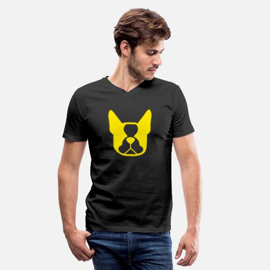 Science Student T-Shirts - Funny Dog Head (Yellow) - Men's V-Neck T-Shirt black